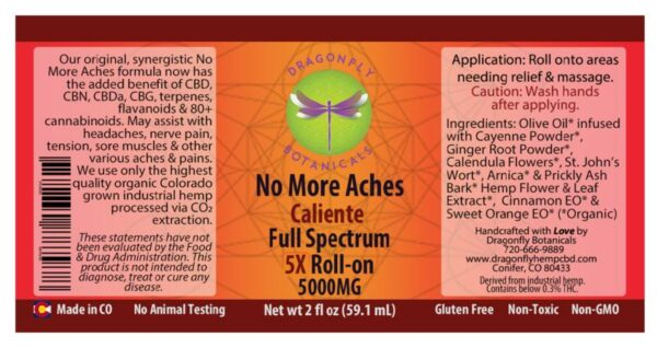Full Spectrum CBD Hemp 5X Caliente ROLL-ON Label
