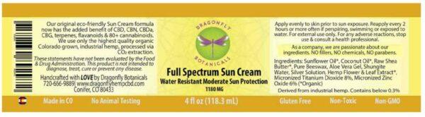 Full Spectrum Sun Cream label