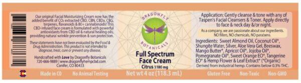 Full Spectrum CBD Hemp FACIAL MOISTURIZING CREAM: Citrus label
