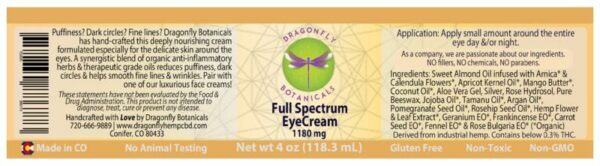 Full Spectrum CBD Hemp EYE CREAM label