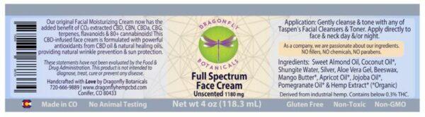 Full Spectrum CBD Hemp FACIAL MOISTURIZING CREAM: Unscented label