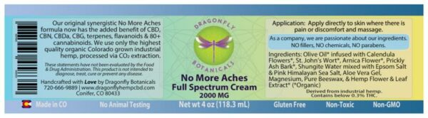 Full Spectrum CBD Hemp No More Aches CREAM Original label