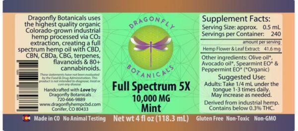 4oz Full Spectrum CBD Hemp Oil 5X: Mint