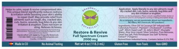 Full Spectrum CBD Hemp Restore & Revive Cream label
