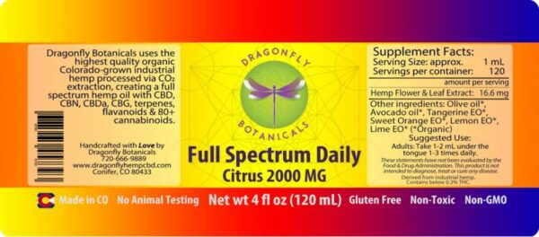 Full Spectrum Daily CBD Hemp Oil Citrus label