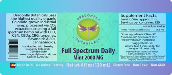 Full Spectrum Daily CBD Hemp Oil Mint Label