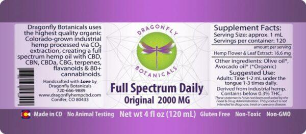 Full Spectrum Daily CBD Hemp Oil Original Label