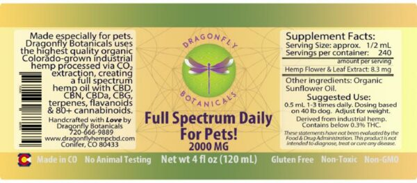 Pet Full Spectrum CBD Hemp Oil label
