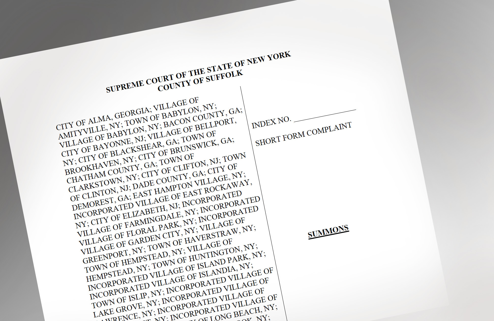 image of printed page of lawsuit