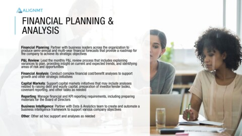 Financial Planning and Analysis