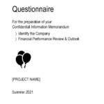 Confidential Information Memorandum Questionnaire