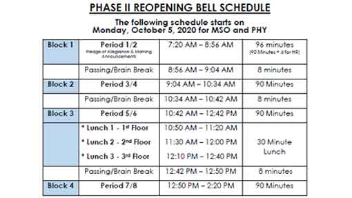 Phase II Virtual Bell Schedule