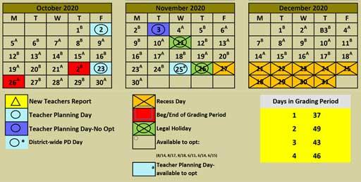 2020 Calendar October November December