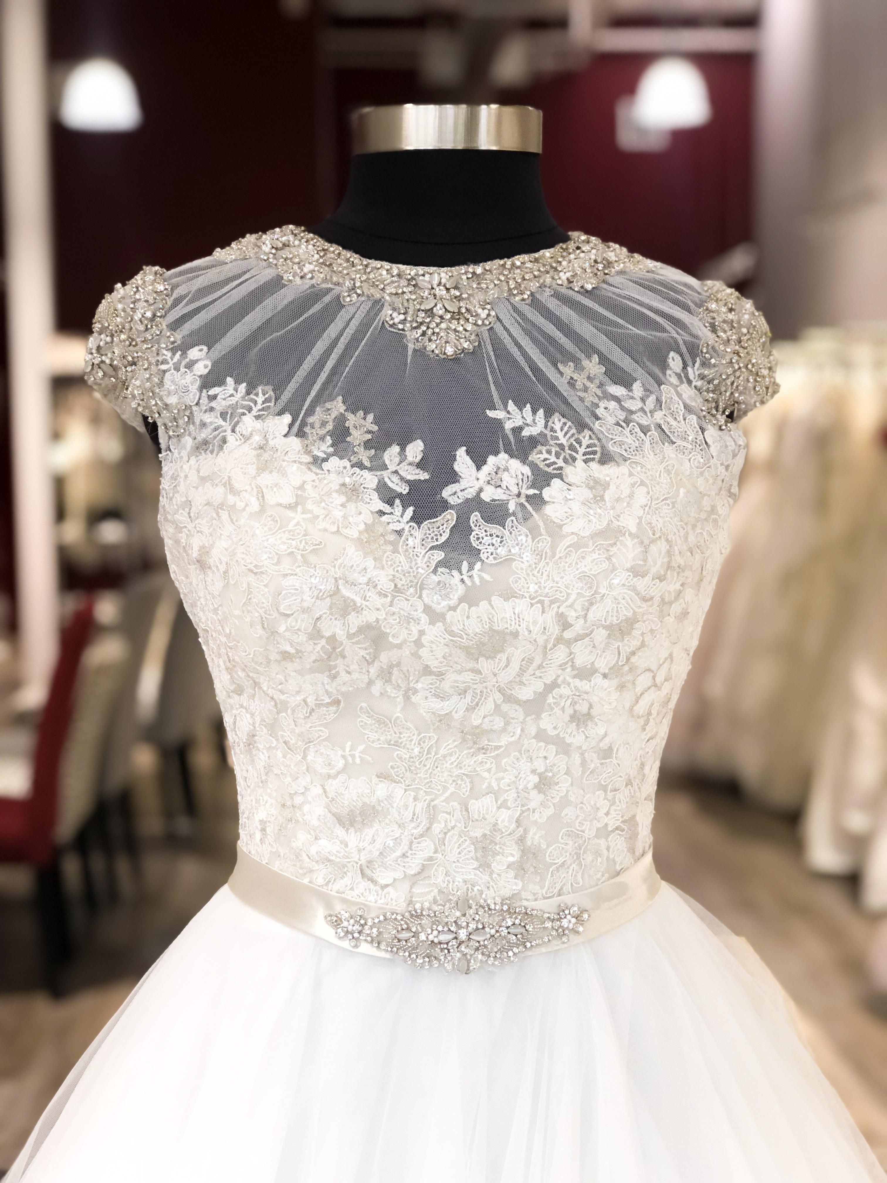 discount wedding dress with illusion neckline
