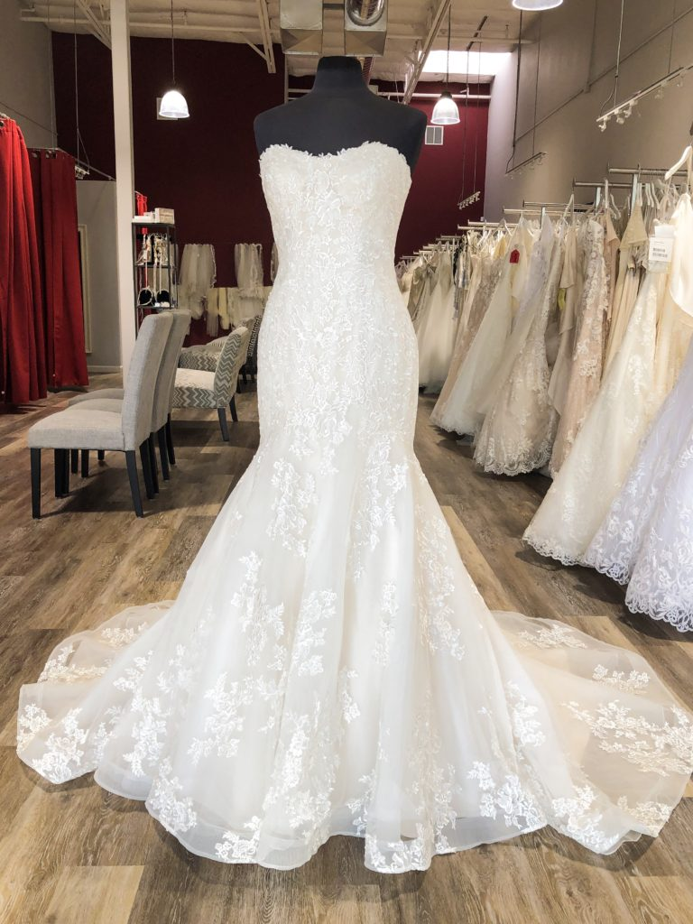 strapless scoop neck lace trumpet wedding dress from Maggie Sottero