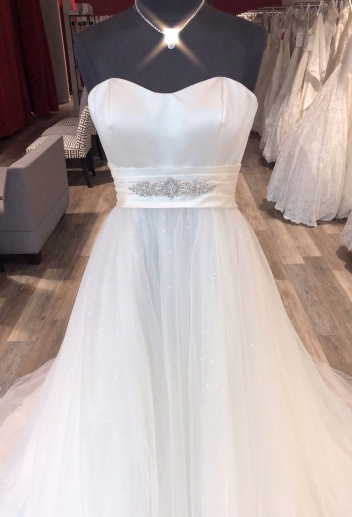 wedding dress sample sale ballgown with glitter tulle