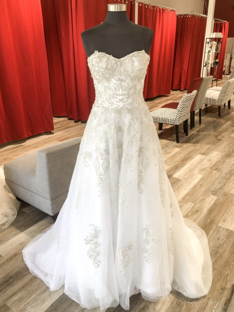strapless ballgown with embroidery discount wedding dress