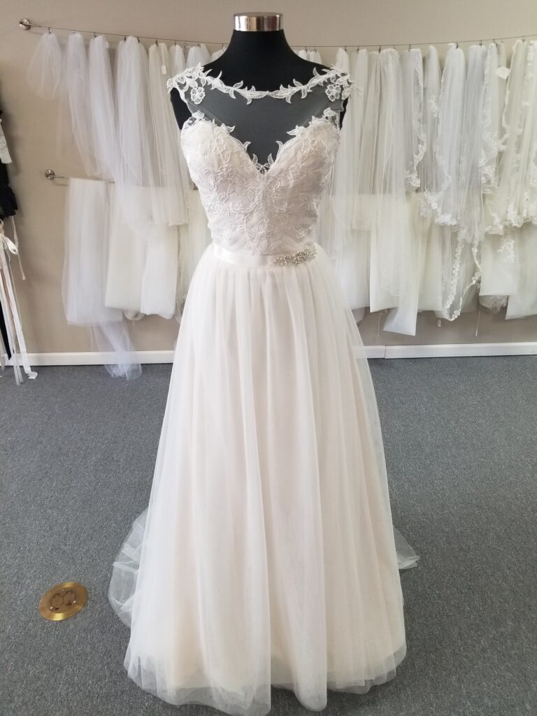 illusion neckline lace and tulle cheap aline wedding dress los angeles