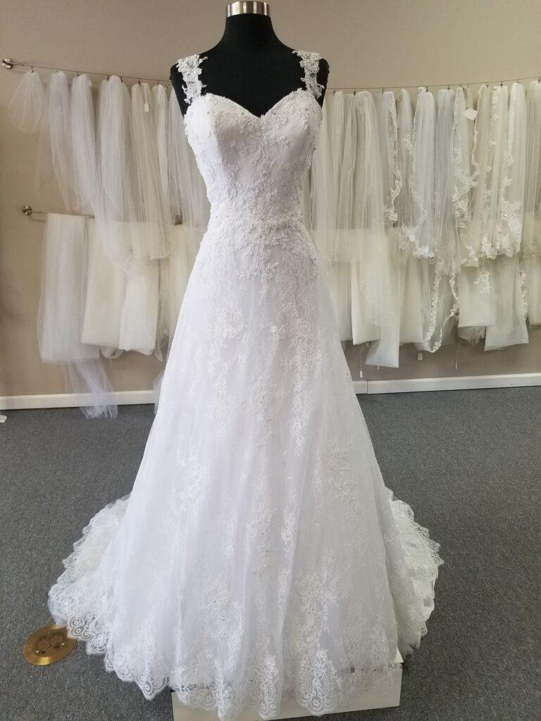 cap sleeve lace aline wedding dress for $599