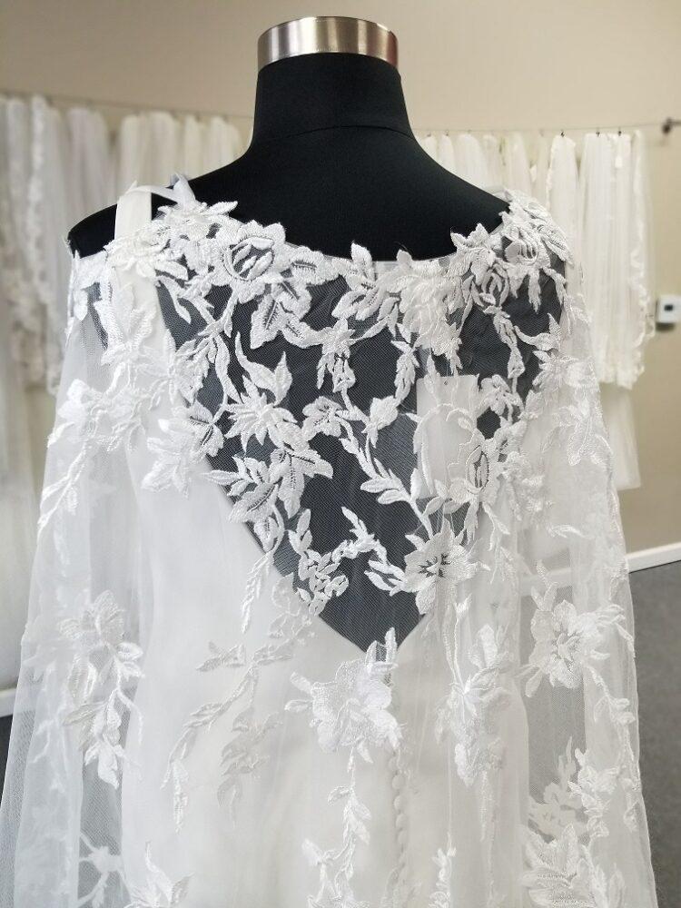 lace wedding cape close up