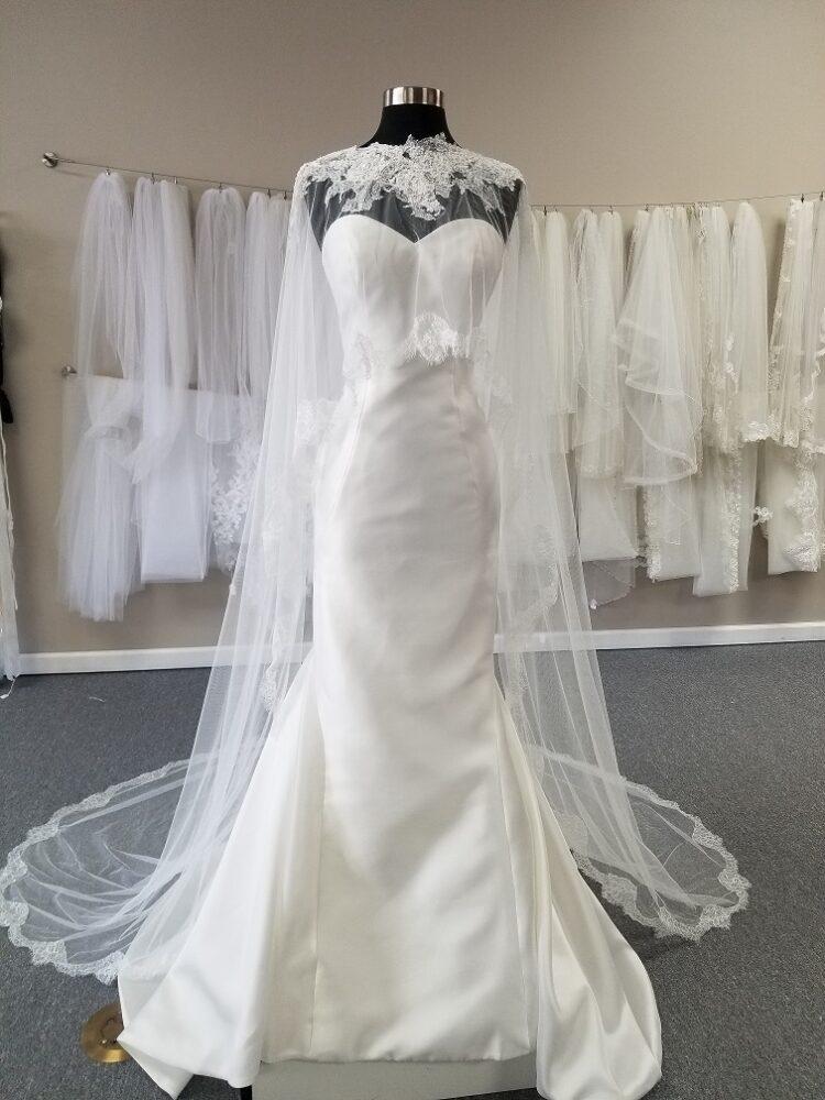 sleek satin mermaid wedding dress with cape