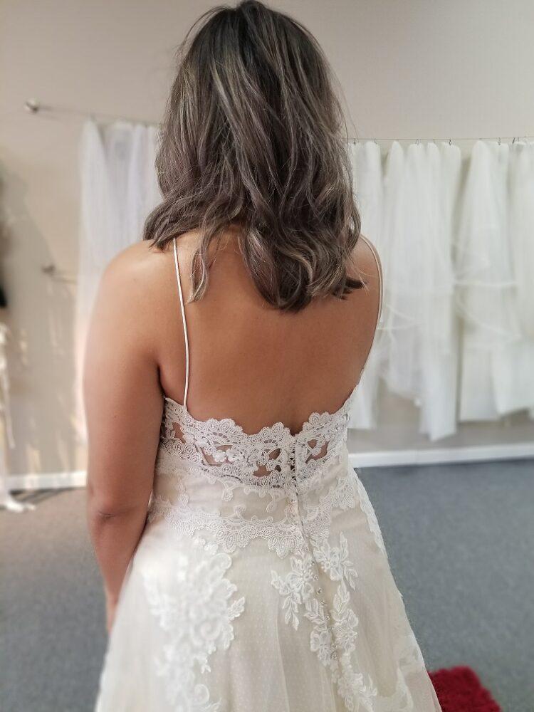 illusion corset back of aline wedding dress
