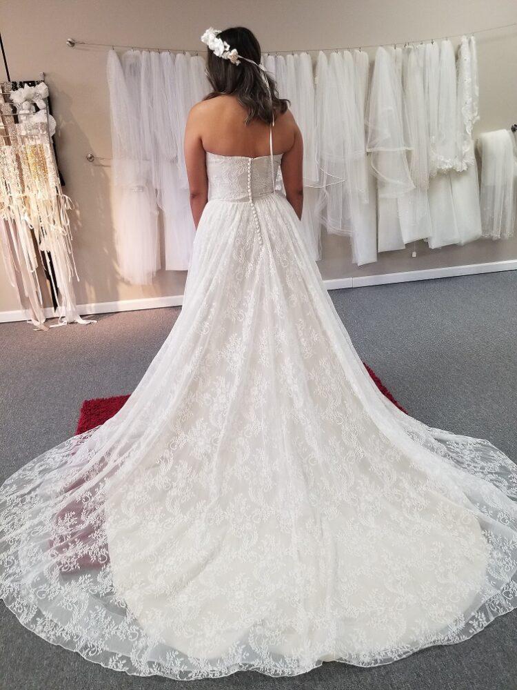 train of aline boho lace wedding dress