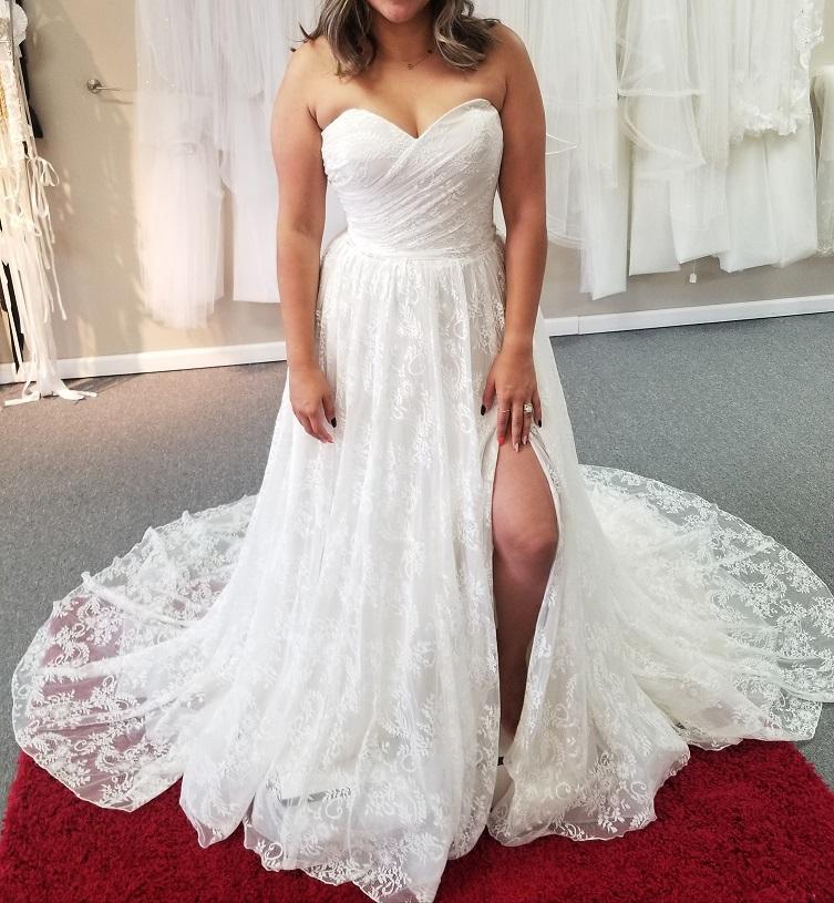 strapless lace boho wedding dress with slit