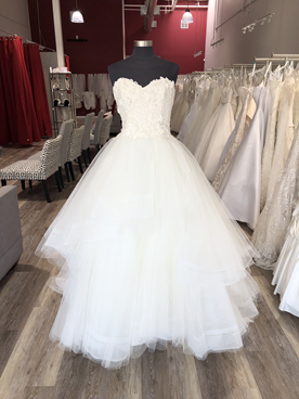lace top ballgown with layered tulle skirt