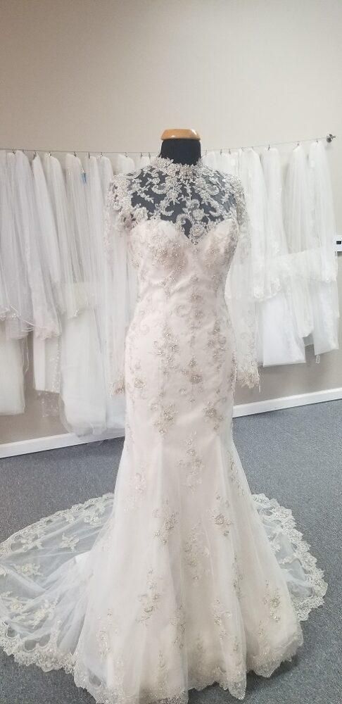high neck vintage long sleeve lace wedding dress