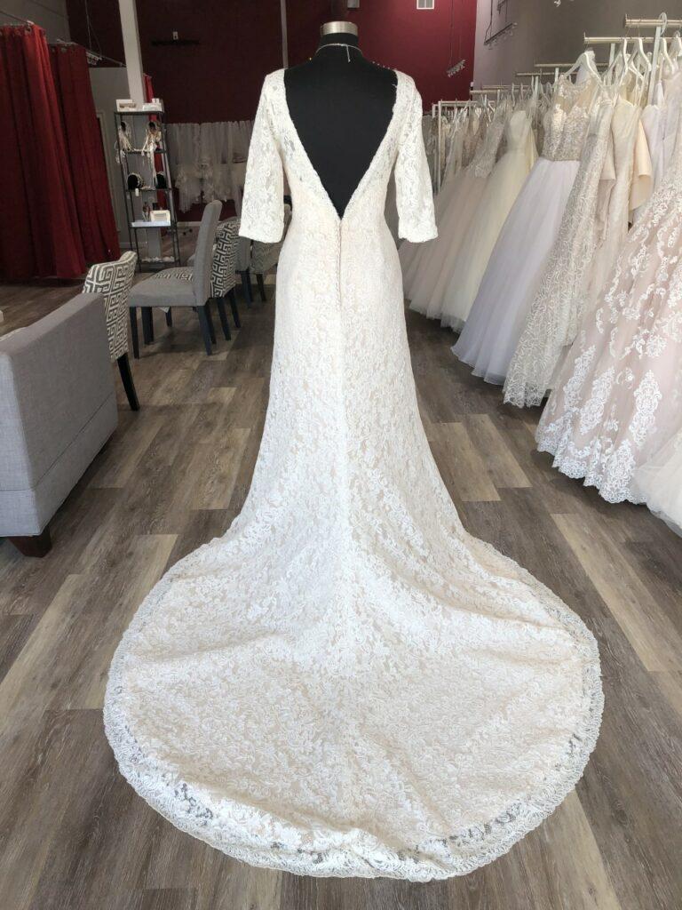 love back long sleeve lace wedding dress