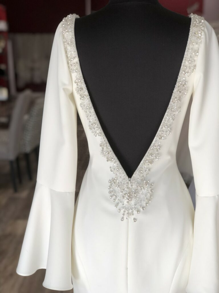 bell sleeve long sleeve plunge front sexy unique crepe wedding dress