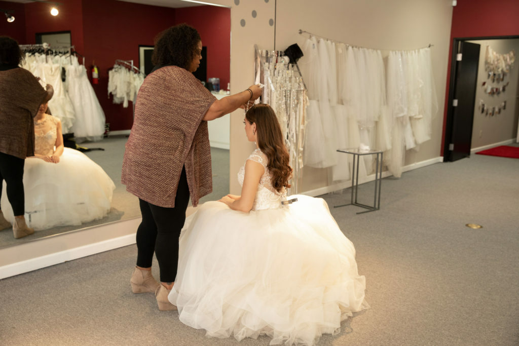 bride in ballgown wedding dress in Orange County California bridal boutique