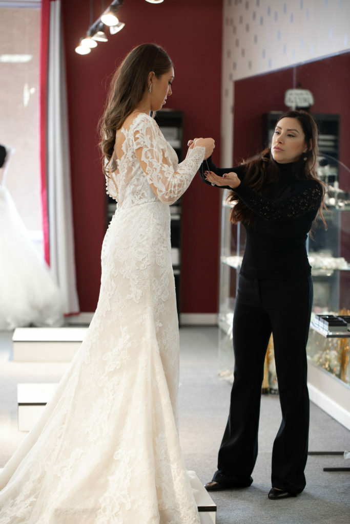 bride and consultant in a Los angeles and orange county California bridal boutique