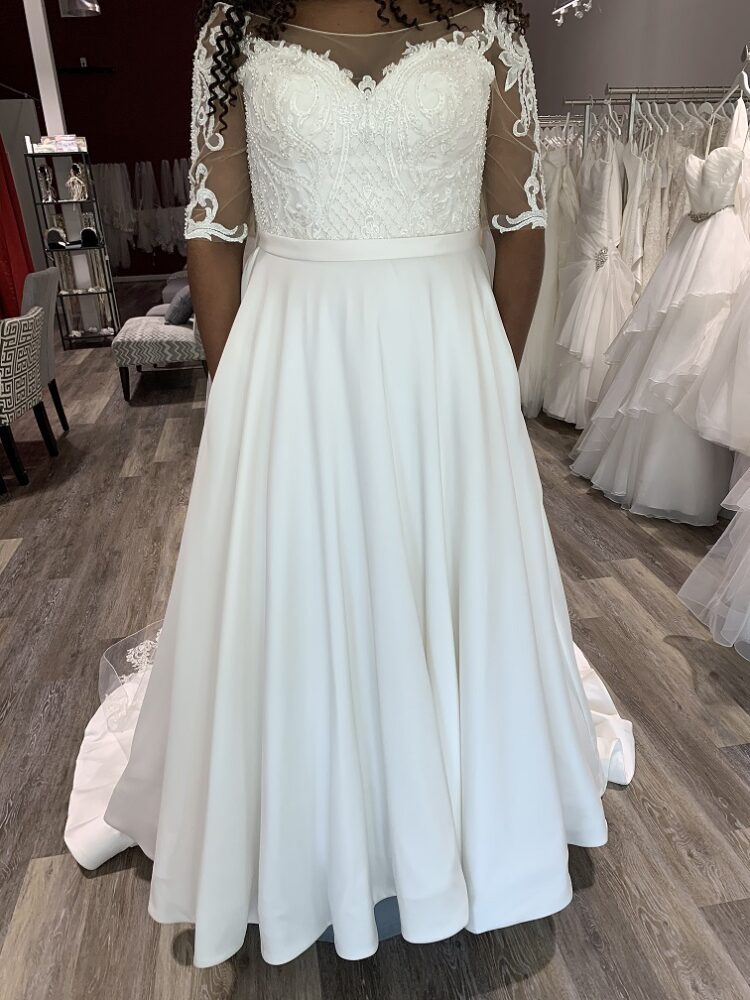 Beautiful Satin ballgown with Illusion sleeve