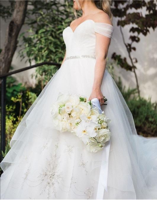 off the shoulder tulle ballgown wedding dress
