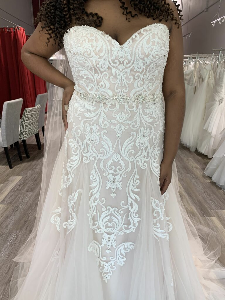 strapless heavily beaded lace trumpet wedding dress with godet pleats in plus size