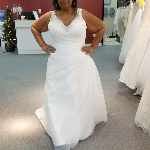 vneck plus size wedding dress with ruched bodice in whittier california bridal store