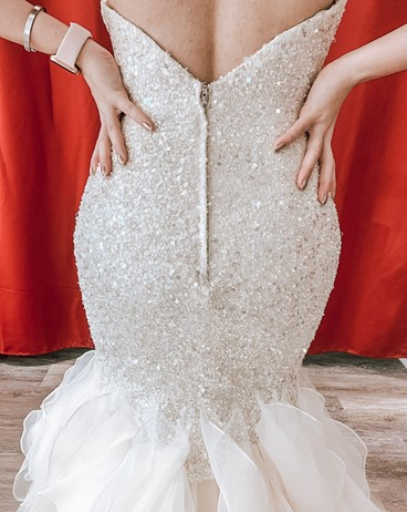 back of sequin wedding dress with ruffles hayward california