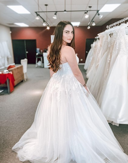 wedding dress sample sale back of strapless lace and tulle ballgown wedding dress whittier california