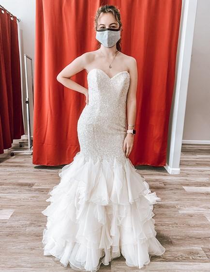 strapless seuqin mermaid wedding dress with ruffles cheap wedding dress california