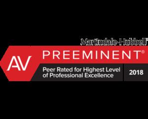 AV   PREEMINENT - Peer Rated for Highest Level of Professional Excellence   2018