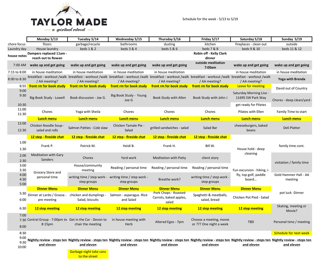 Taylor Made Retreat schedule sample