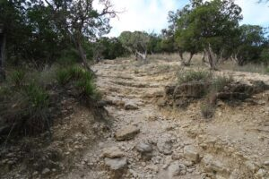 The rugged trail to White Rock Cave