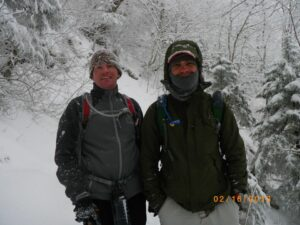 Wearing my REI Elements Jacket on a snowy day at Mt LeConte