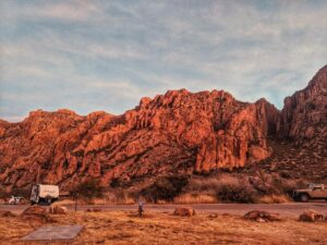 early morning view from our campsite in the chisos basin