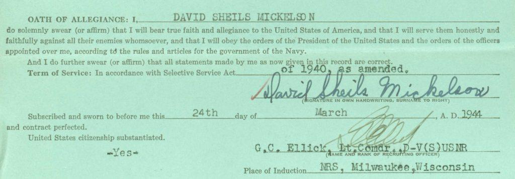 David Enlists in the U.S. Navy
