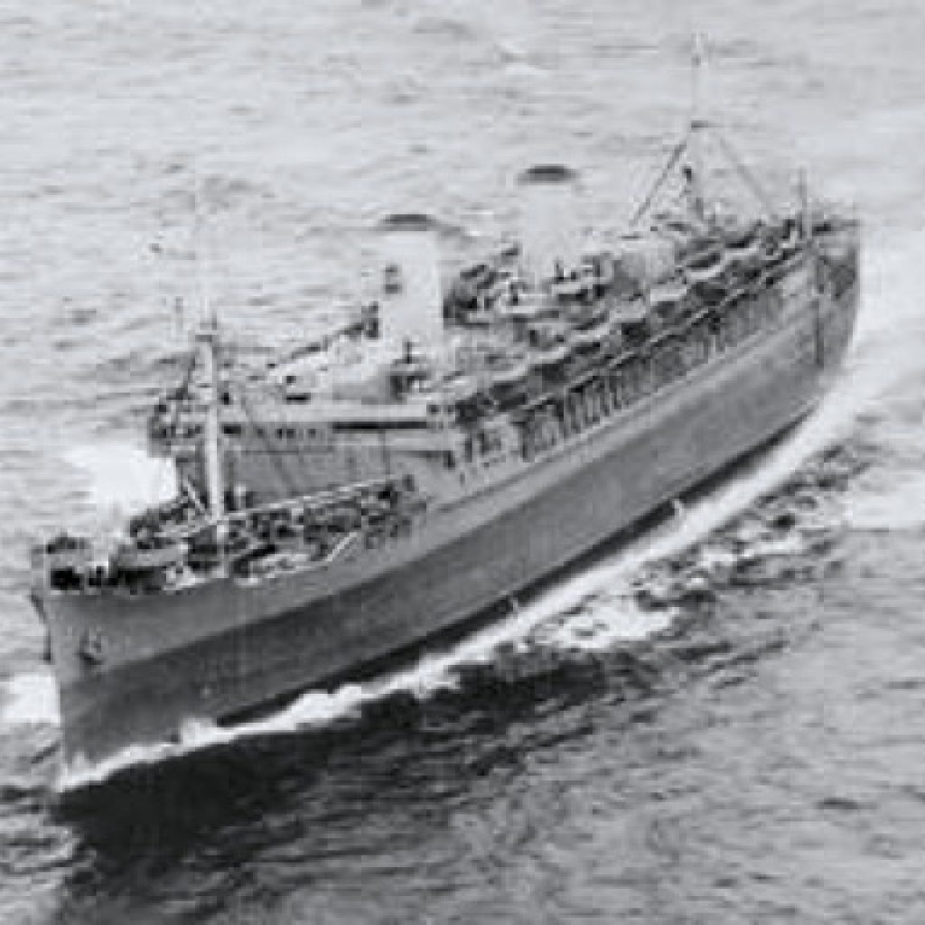 Ernest and the 883rd leave Boston on the SS Mariposa
