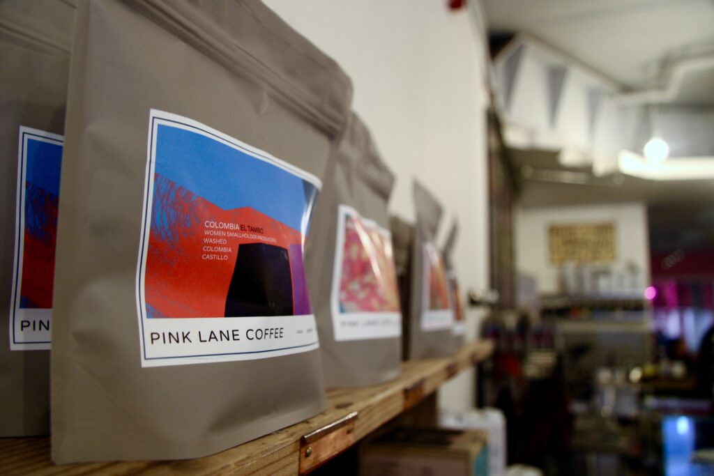 Pink Lane Coffee sells a coffee blend from a women owned farm