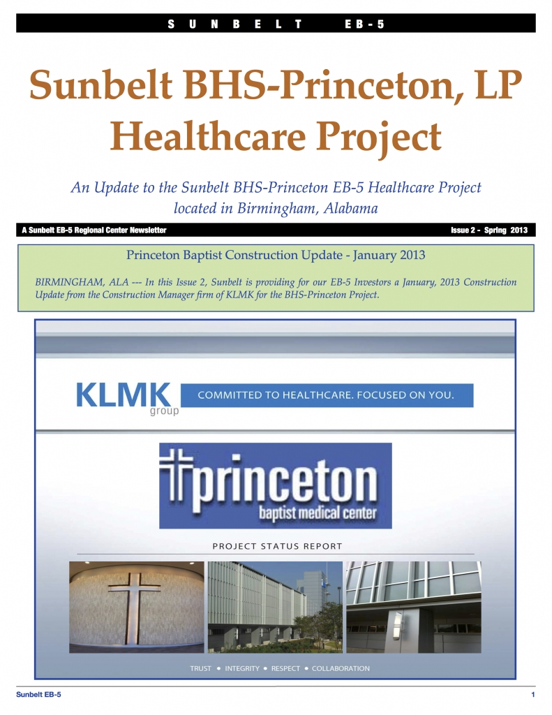 Sunbelt BHS-Princeton Update Issue 2 Spring 2013 Construction KLMK Update copy